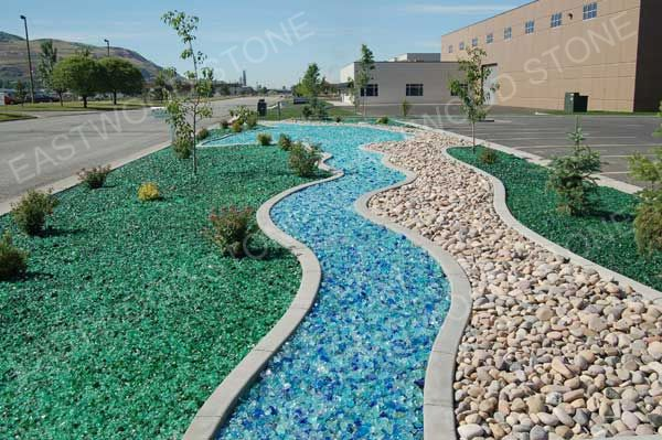 Outdoor Blue Pebbles : Glass rock eastwood stone co ltd